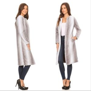 Jackets & Blazers - Full length Ombré Pattern Faux Fur Coat